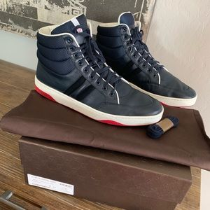 Gucci men's hi top Navy leather sneakers 12G 13 US